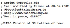 99 BOTTLES OF BEER IN GLPRO